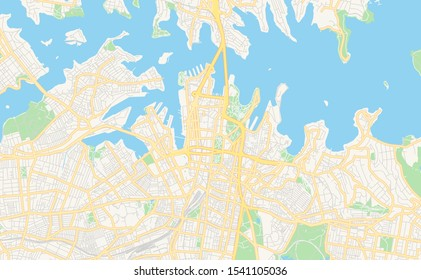 Printable street map of Sydney, State New South Wales, Australia. Map template for business use.