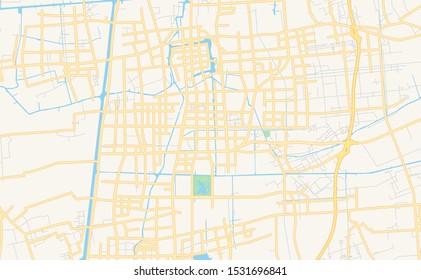 Printable street map of Taizhou, Province Jiangsu, China. Map template for business use.