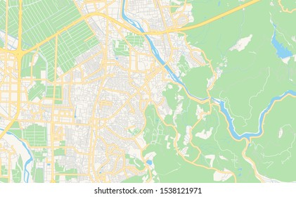 Printable street map of Uji, Prefecture Kyoto, Japan. Map template for business use.