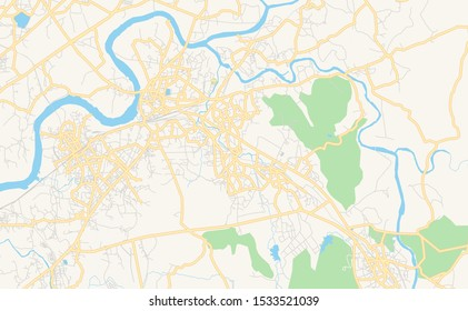 Printable street map of Ulhasnagar, State Maharashtra, India. Map template for business use.