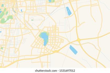 Printable street map of Xuzhou, Province Jiangsu, China. Map template for business use.