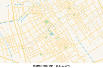 Printable street map of Yancheng, Province Jiangsu, China. Map template for business use.