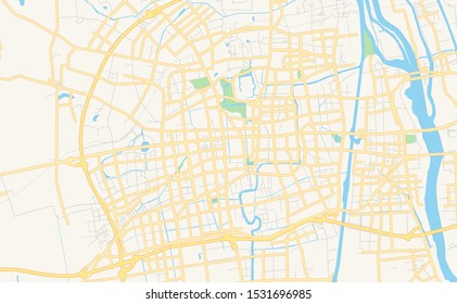 Printable street map of Yangzhou, Province Jiangsu, China. Map template for business use.
