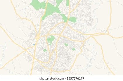Printable street map of Zaria, Nigeria. Map template for business use.