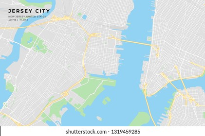 Printable streetmap of Jersey City including highways, major roads, minor roads and bigger railways. The name of the city and the geographic data are grouped and can be removed if they are not needed.
