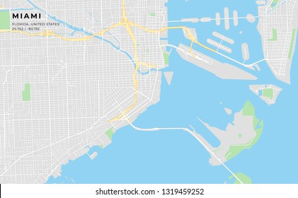 Printable streetmap of Miami including highways, major roads, minor roads and bigger railways. The name of the city and the geographic data are grouped and can be removed if they are not needed.
