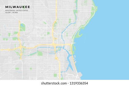 Printable streetmap of Milwaukee including highways, major roads, minor roads and bigger railways. The name of the city and the geographic data are grouped and can be removed if they are not needed.