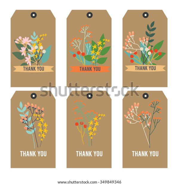 image about Thank You Printable Tag known as Printable Tag Floral Thank Your self Tag Inventory Vector (Royalty