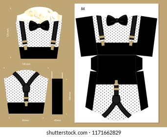Printable vector box for sweet food or french fries. Black, gold suspenders and bow. Little gentleman/man party. Template for themed birthday bash. Package for favor gift on first birth, father's day