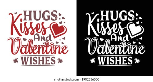 Printable Vector Illustration Hugs Kisses And Valentine Wishes
