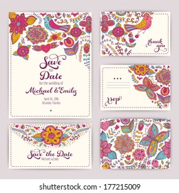Printable Wedding Invitation Template: invitation, envelope, thank you card, save the date cards. Wedding set. RSVP card. Marriage event. Valentine, seamless pattern is masked and complete.