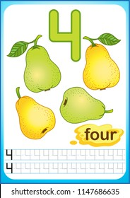 printable worksheet for kindergarten and preschool.  ripe berries and fruits. We count and write numbers from 1 to 10
