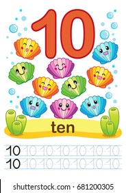 Printable worksheet for kindergarten and preschool. We train to write numbers. Mathe exercises. Bright figures on a marine background with cute marine life.