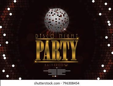 PrintDisco banner celebrating night party background. Retro vinyl disc on bright lights backdrop.