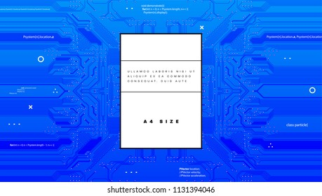 Printed circuit board abstract background for quantum computing and artificial intelligence presentation design. Eps10 vector illustration