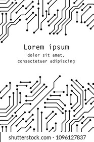 Printed circuit board black and white computer technology poster template, vector