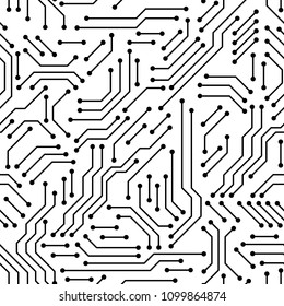 Printed circuit board black and white computer technology seamless pattern, vector
