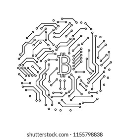 Printed circuit board black and white bitcoin round shape symbol computer technology, vector