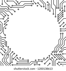 Printed circuit board black and white computer technology circle frame template, vector