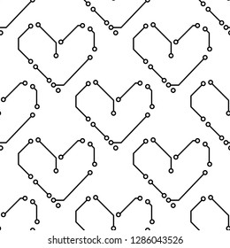 Printed circuit board black and white hearts shape computer technology seamless pattern, vector