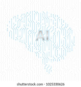 Printed circuit board human brain. Concept of Artificial Intelligence in the center. Vector