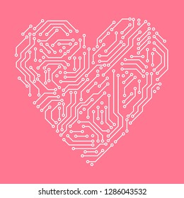Printed circuit board pink and white heart shape computer technology, vector