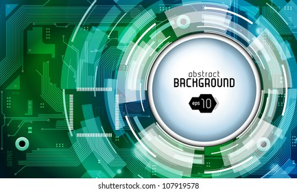 Printed Circuit Board Shiny Dark Round Vector Background Green Blue EPS10