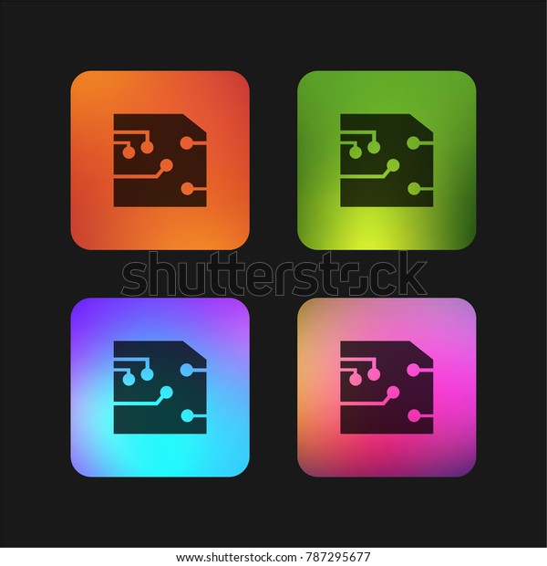 Printed Circuit Four Color Gradient App Stock Vector