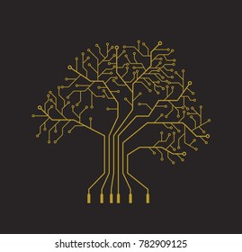 Printed circuit like gold tree, gray background