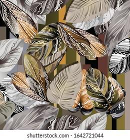 Printed Silk Scarf Design With Leaf Artistic