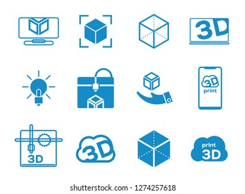 Printer 3d flat icons set. Isolated vector illustration