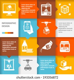 Printer 3d infographic set with architecture futuristic building process icons vector illustration