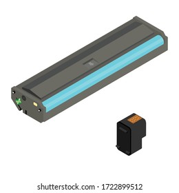 Printer cartridge isolated on white background isometric view. Vector