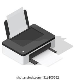 Printer detailed isometric icon vector graphic illustration