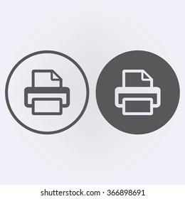 Printer or fax icon set in circle . Web symbol . Vector illustration