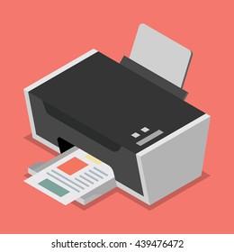 Printer flat style isometric. Vector illustration