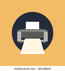 printer icon. colorful flat style vector illustration