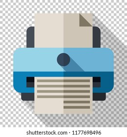 Printer icon in flat style with long shadow on transparent background