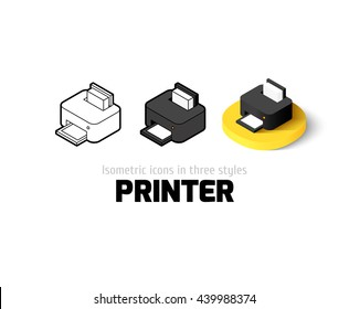 Printer icon, vector symbol in flat, outline and isometric style
