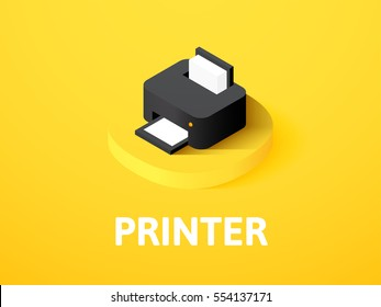 Printer icon, vector symbol in flat isometric style isolated on color background