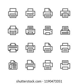 Printer lines icon set