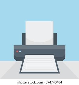 Printer on table, print option on flat style background concept. Vector illustration design