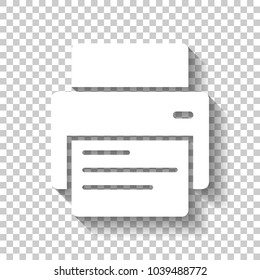 printer and paper. White icon with shadow on transparent background