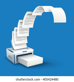 Printer printing copies of text to paper with copyspace vector icon. White blank pages moving from printer. Office work concept with copying paper documents device.