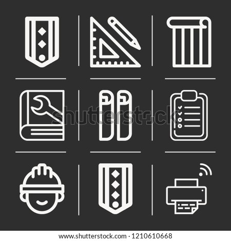 Printer, ruler and pencil, architect, wallpaper, checklist, blueprint, chevron icon set suitable for info graphics, websites and print media and interfaces ...