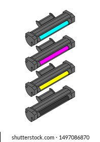 Printer toner cartridge CMYK set. Cyan and Magenta. Yellow and Key color. ink Laser Jet printer