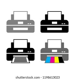 Printer vector icons on white background