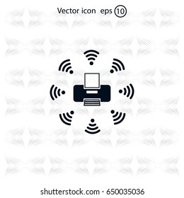 Printer with wi-fi connection, vector icon