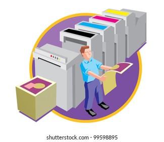 Printer at work design and print service vector icon illustration