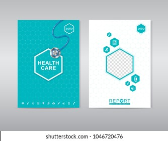 Printhealth care cover template with place for photos design for a report and medical brochure design, flyer, leaflets decoration for printing and presentation vector illustration